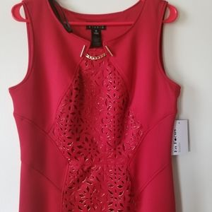 ENFOCUS STUDIO sheath dress, red with gold accents